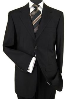 His favorite! Presidential 2 Button Mens Suit Italian Modern Business Fit Pure Black
