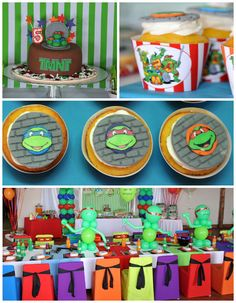 Ninja Turtle themed birthday party via Kara's Party Ideas KarasPartyIdeas.com Printables, cake, invitation, cupcakes, games, and more! #TMNT...