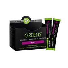 Greens on the Go™ - Berry | It Works!® Detoxify, alkalize, and promote pH balance within the body. Acidity-fighting magnesium and potassium blend. Cutting-edge probiotic support for digestive health. 38 herbs and nutrient-rich superfoods. 8+ servings of fruits and vegetables in every scoop. Free radical-fighting antioxidants. Great-tasting berry flavor.