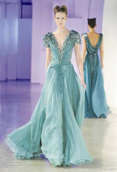 Here are a Basil Soda Evening Wedding Gowns Those of you who are designing an irresistible and ravishing look at the marriage recepti. Most Beautiful Dresses, Pretty Dresses, Beautiful Outfits, Blue Dresses, Colored Wedding Dresses, Bridal Dresses, Wedding Gowns, Elie Saab, Basil Soda