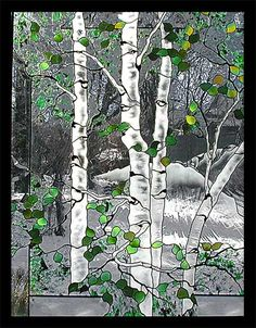 These four panels are meant to be hung side-by-side to create a scene depicting the four seasons. Title: Four Seasons Mt. Sopris... 1 of 4