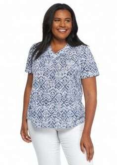 Alfred Dunner  Plus Size St. Augustine Embellished Printed Burnout Tee