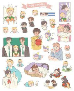 Exo Stickers, Cute Stickers, Kpop Drawings, Cute Drawings, Exo Fan Art, Fanarts Anime, Kawaii Stationery, Aesthetic Stickers, Kaisoo