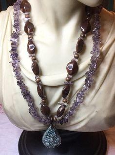 Purple Amethyst Multi Strand Stone Necklace..handmade    eBay