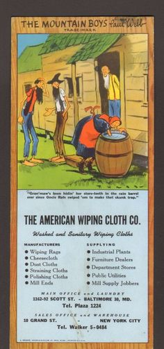 Undated Advertising Ink Blotter American Wiping Cloth Co Mountain Boys Comic