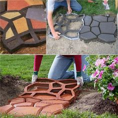 DIY Plastic Mini Concete Path Maker Mold Form Black Stein Gehwege, Concrete Slab, Cement, Concrete Molds, Diy Driveway, Driveway Paving, Stone Road, Stone Path, Brick Molding