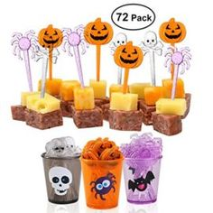 PBPBOX 72 Pack Halloween Food Picks 6 Cups Cupcake Toppers with Glitter Spider Pumpkin Skull Design for Halloween Party Supplies Halloween Party Decorations -- This food costume is a recipe for winning your Halloween Costume Contest! #food #recipes #halloween #costume