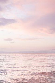 Ocean Sunset Print   Ocean Photography   Pink Clouds   Sunset Wall Art   Blush Pink Beach   Pastel Ocean Print   Horizon Print - PRINTABLE