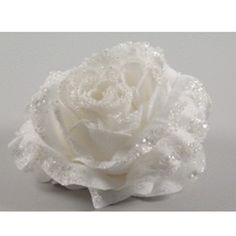 A few silver silk flowers in a white wedding bouquet pastry love white silk rose flower with sparkle finish 14cm 220 13904 wh mightylinksfo