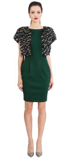 Catherine Malandrino: cap sleeve dress with picot detail
