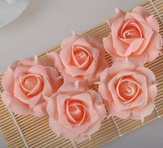 100 Luxury Peach Pink Foam Rose Flowers Wedding Bridal Bouquet Home Floral Decor
