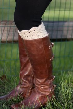 Boot Cuffs Crochet- Oatmeal Scallop Boot Topper. $32.00, via Etsy.