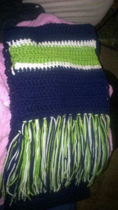 A Seattle Seahawks inspired crocheted scarf.