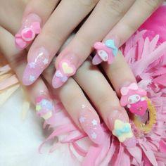 Pastel Sweet Gyaru/Lolita nail art