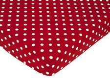 SWEET JOJO DESIGNS LADYBUG CRIB OR TODDLER FITTED SHEET - POLKA DOT PRINT COTTON