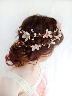 Blush pink wedding hair flower wreath bridal by thehoneycomb