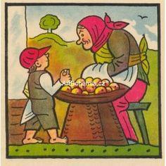 Byla jedna babka, prodávala jabka Book Illustration, Czech Republic, Illustrators, Fairy Tales, Literature, The Past, Drawings, Artist, Poster