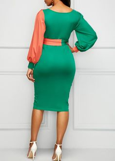 V Neck Belted Lantern Sleeve Sheath Dress on sale only US$33.48 now, buy cheap V Neck Belted Lantern Sleeve Sheath Dress at liligal.com