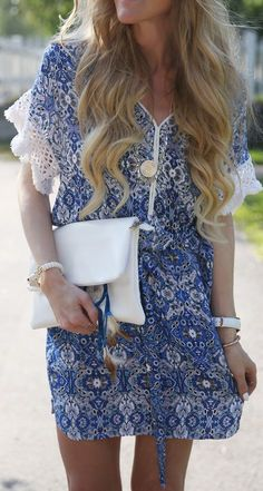 In Love With Fashion Blue And White Paisley Print Tassel Sleeve Summer Mini Dress