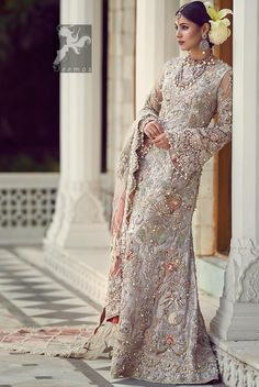 The 'Bengal Goddess', a regal bridal ensemble, assimilates fauna motifs which are embellished with intricate embroideries, pearl and Tila work. Walima Dress, Pakistani Formal Dresses, Pakistani Wedding Dresses, Indian Dresses, Indian Outfits, Desi Wedding Dresses, Party Wear Dresses, Pakistan Fashion, Indian Designer Outfits