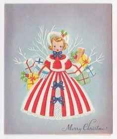 Vintage Greeting Card Christmas Pretty Lady Girl Fur Trimmed Dress 1940s
