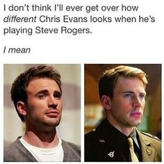 I don't think I'll get over how different Chris Evans looks when he is playing Steve Rogers. Dc Memes, Marvel Memes, Marvel Dc Comics, Marvel Avengers, Avengers Memes, Avengers Imagines, Funny Memes, Avengers Cast, Hilarious