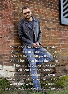 A heart that's still pretty crazy and a head that just got sick of the noise 💕 Eric Church Quotes, Eric Church Lyrics, Country Music Quotes, Country Music Lyrics, Take Me To Church, My Church, Lyric Quotes, Me Quotes, Eric Church Chief