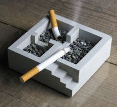The Kiso Ashtray is divided into three rooms, (with adjoining steps), giving each cigarette the illusion of privacy. If you're not a smoker but still love the look, you can easily find other uses for it like organizing your hairpins, elastics, paper clips, etc.