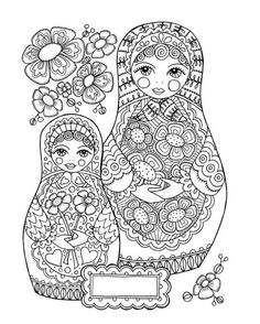 Fairy Coloring Pages Printable For Grown Ups Books Colouring Matryoshka Doll Kokeshi Dolls Embroidery Art
