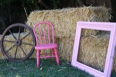 cowgirl birthday theme spray paint old cahir hot pink and put hay bales aound for backdrop for opeing gifts, photo opts, ect
