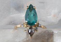 ONE OF A KIND TEAL TOURMALINE + DIAMOND SUNBURST RING :: Alexis Russell