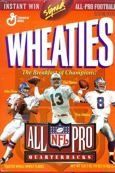 b2eda581307 wheaties cereal box all pro quarterbacks john elway dan marino troy aikman  autog - Cereal Boxes