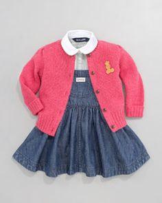 -3VYB Ralph Lauren Childrenswear Preppy Cable-Knit Cardigan & Denim Jumper Set