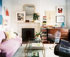 living room. Laura, this would be your living room with all of your books and not enough book cases :)