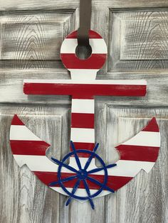 Loving this Red Stripe Personalized Anchor Door Hanger on W x H Metal Pallet Painting, Pallet Art, Anchor Wall Decor, Anchor Decorations, Anchor Painting, Nautical Wreath, Nautical Centerpiece, Wood Anchor, Cruise Door