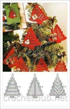 Crochet Christmas ornament crochet by SevisMagicalStitches on Etsy by loretta - Salvabrani - Salvabrani Crochet Christmas Decorations, Christmas Tree Pattern, Crochet Christmas Ornaments, Christmas Crochet Patterns, Holiday Crochet, Crochet Snowflakes, Xmas Decorations, Christmas Crafts, Crochet Tree