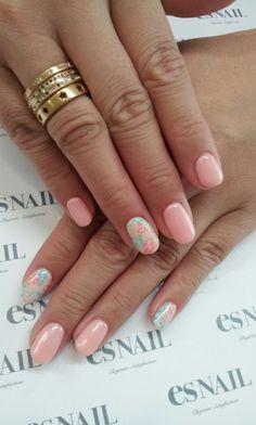 pink pastel floral nails