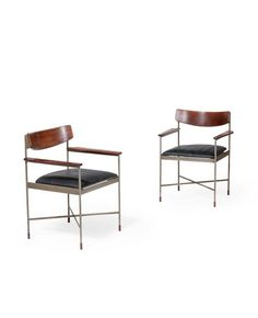 Ico Parisi Attributed; Rosewood and Steel Armchairs, c1960