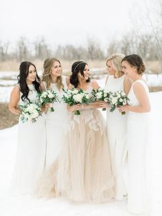 A Spring Wedding at the Lake House - white bridesmaid dresses - Calgary wedding photographer - canmore wedding photographer Bridesmaid Inspiration, Winter Wedding Inspiration, White Bridesmaid Dresses, Brides And Bridesmaids, Prom Dresses, Wedding Trends, Wedding Styles, Wedding Ideas, Winter Wedding Colors