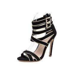 Black Gold Double Buckle Suede Heeled Sandals - Womens Stiletto Sandals - Beaded Creations Online Fashion Stores, Online Clothing Stores, Online Shopping Clothes, High Heel Boots, Heeled Boots, High Heels, Heeled Sandals, Diva Fashion, Suede Heels