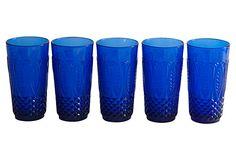 Tall Blue Tumblers, Set of 5 on OneKingsLane.com