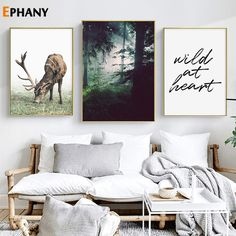 """Forest Landscape Canvas Poster Nordic Style Wild Deer Wall Art Print Painting Decoration Picture Scandinavian Home Decor"" Kids Room Wall Art, Living Room Art, Home Decor Wall Art, Art Decor, Decoration, Room Decor, Deer Wall Art, Large Wall Art, Geometric Wall Art"