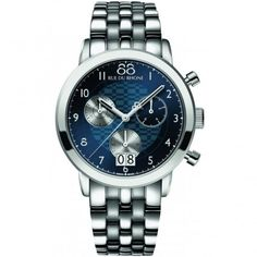 88 RUE DU RHONE 87WA140031 Men's Stainless Steel Quartz Chronograph Watch Vibrant Blue Dial