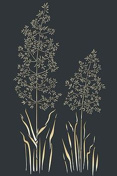 Grass Stencils Wild Meadow Grass Stencil Wild Grasses | Sew Patterns | Pinterest | Grasses and Stencils