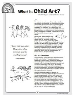 """Article/Handout for Parents, """"What is Child Art?"""" (from Anna Reyner, Art & Creativity in Early Childhood Education)"""