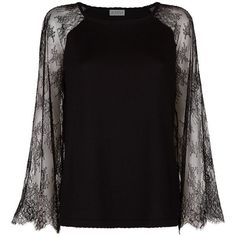 Claudie Pierlot  Madouce Lace Sleeve Sweater (21735 RSD) ❤ liked on Polyvore featuring tops, sweaters, claudie pierlot, raglan sweater, lace sleeve top, purple sweater and raglan sleeve top