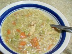 Chicken rice soup: 4 cans chicken broth, 1 C. chopped cooked chicken, 1 bag sliced frozen carrots, 1 C. chopped celery, salt, pepper, 1 box chicken garlic ricearoni. Cook on high 4 hours.