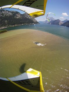 Kite Surfing at Lake Traunsee, Austria.