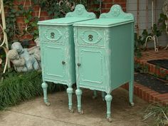 Shabby Chic Antique Nightstands Bed Tables Worn Aqua Paint Barbola Roses Distressed Bedroom Furniture