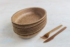 Eco, fully biodegradable tableware made of pure wheat bran.